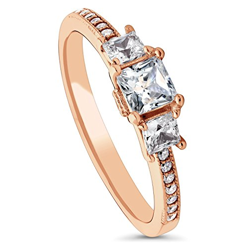 BERRICLE Rose Gold Plated Sterling Silver Cubic Zirconia CZ 3-Stone Promise Engagement Ring Size 4 (Plated Gold Ring 3 Stone)