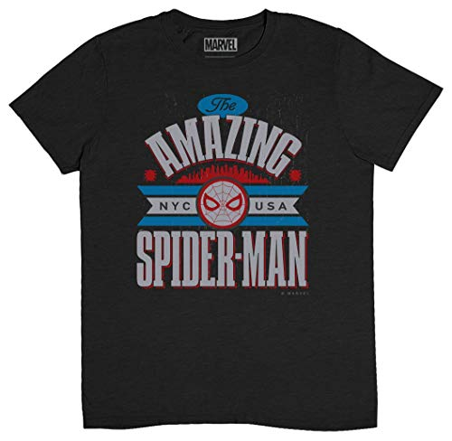 Musterbrand Spiderman Tshirt Marvel Amazing Spider-Man Retro Comic Superhero Men's T-Shirt X-Large Heather Dark Gray