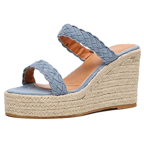 (EDTO Womens Casual Rubber Sole Flatform Studded Wedge Buckle Ankle Strap Open Toe Sandal Light Blue)