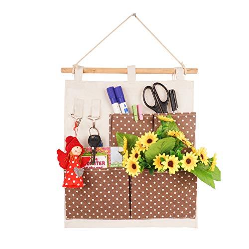 LINENLUX Linen Cotton Fabric Wall Door Cloth Hanging Storage Bag Organizer 4 Pocket (Coffee Dot,11.81