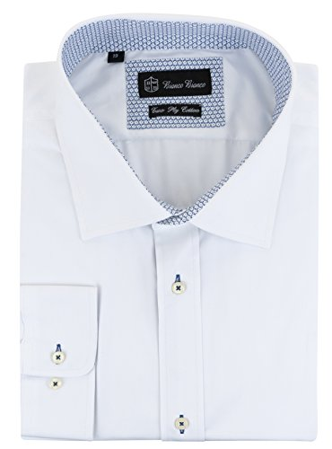 (Bianco Bianco Big and Tall Men's Cotton Dress Shirts Button Cuff Contrast Spread Collar (Style 4, 19))