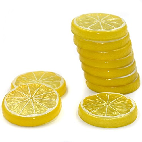R.FLOWER 10 pcs Highly Simulation Fake Yellow Lemon Slice Artificial Fruit Model Home Party Decoration