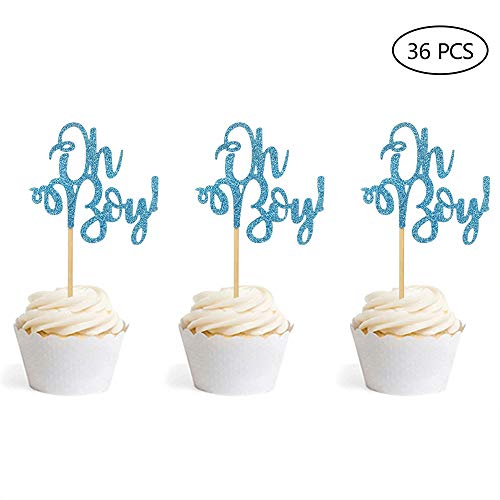 Set of 36 Blue Glitter Oh Boy Cupcake Toppers Baby Shower Boy's First Birthday Party Decorations