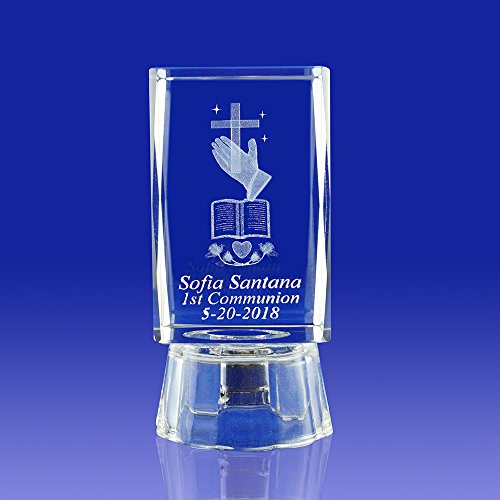 Memorial (12 PCS) First Communion, R.I.P Personalized Custom Laser Engraving 3D Bible, Cross, and Praying Hands Crystal (2.5