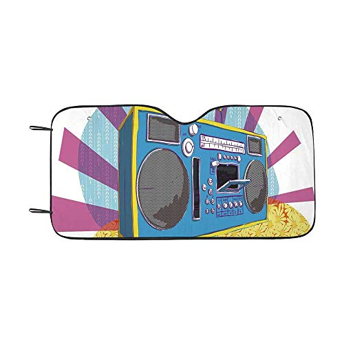 70s Party Decorations Durable Car Sunshade,Retro Boom Box in Pop Art Manner Dance Music Colorful Composition Decorative for car,55