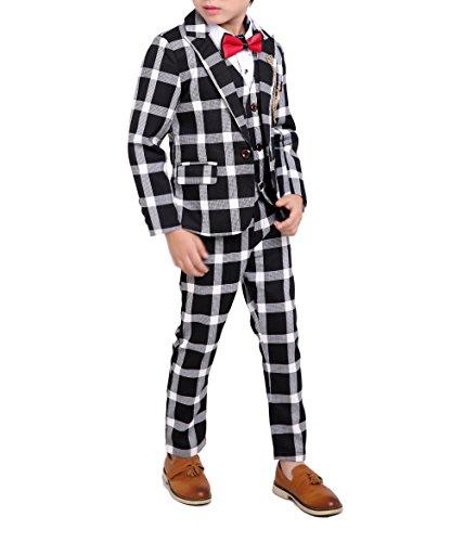 YUFAN Boys Black Red Green 3 Colors Plaid Suit 3 Pieces Jacket Vest Pants Size 2T - 10