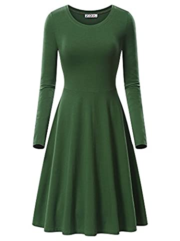 Swing Dress,KIRA Women's Long Sleeve Casual Swing Dress 17033-8 Medium (Midi Cotton Dress)