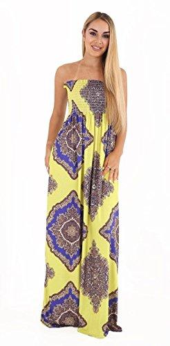 RNZ Fashion Women Floral Printed Bandeau Elasticated Sheering Maxi Dress Yellow Paisley US 4-6 (UK 8-10)