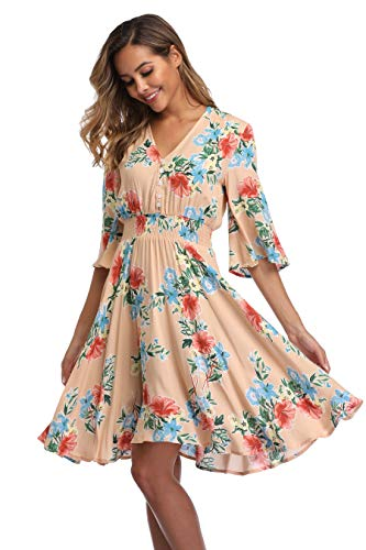(VintageClothing Women's Floral Sundresses Flowy Boho Summer Casual Beach Dress Button Up Midi Party Dress, XL)