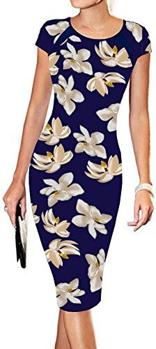 ral Print Sexy Wear to Work Office Career Sheath Midi Dress L Yellow ()