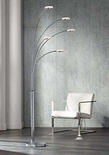 Floor Lamp Acrylic Shade (Aldo Modern Arc Floor Lamp LED 5-Light Chrome Acrylic Diffuser Rings for Living Room Reading Bedroom Office)