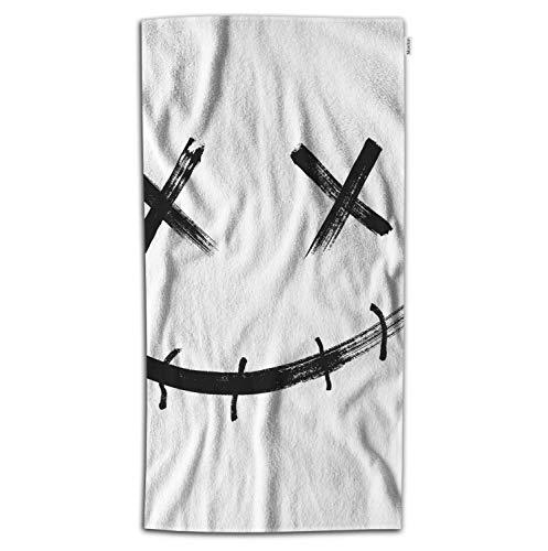 Moslion Joker Bath Towel Horror Clown Face with Evil Smile for Halloween Towel Soft Microfiber Baby Hand Beach Towel for Kids Bathroom 32x64 Inch Black -