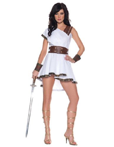 [Women's Sexy Gladiator Costume - Olympia, White/Brown, X-Large] (Athena Greek Goddess Costume Child)