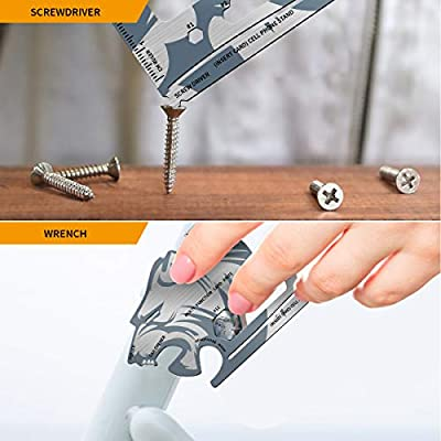 WOOANY Multitool Card, EDC Pocket Tool, 18-IN-1 Stainless Steel Multi-tool,Credit Card Survival Multi Purpose Keychain Tools For Camping Hiking Cycling Travel and Best Gadgets for Men by Wooany