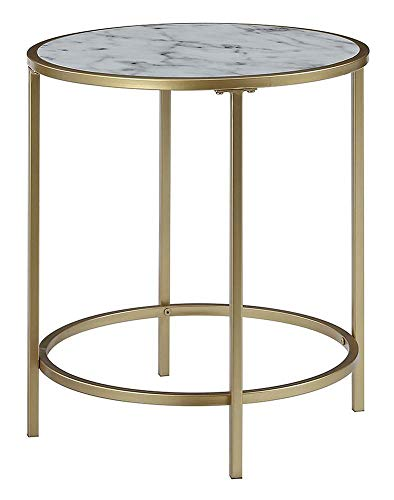 Convenience Concepts 413466WMG Gold Coast Deluxe Faux Marble Round End Table, White Faux Marble/Gold Frame (Convenience Concepts Gold Coast Faux Marble End Table)