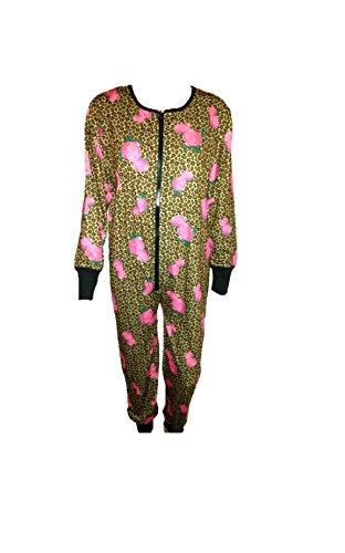 Pajama Drama Adult Onesie Multi Floral Sleepsuit Cheetah Print (M) (Cheetah Costumes For Adults)