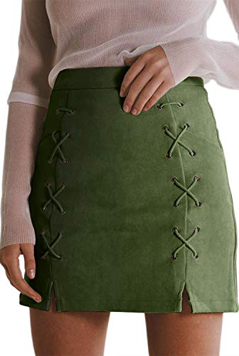 katiewens Women's Classic High Waist Lace Up Bodycon Faux Suede A Line Mini Pencil Skirt Green ()