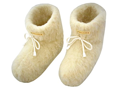 Relaxen Unisex Winter Women's Men's Slippers | Pure Sheep Wool | Anti-slip Sole House Boots with Lace Cute Boots Perfect for Cold Evening Size 36-45 Model XF Creme a0cr9Ixua