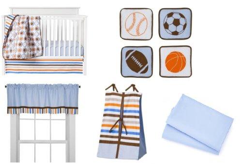Bacati - Mod Sports Blue, Orange, Khaki and Chocolate 9 Pc Crib Bedding Set W/o Bumper (Sports 9 Piece Crib)