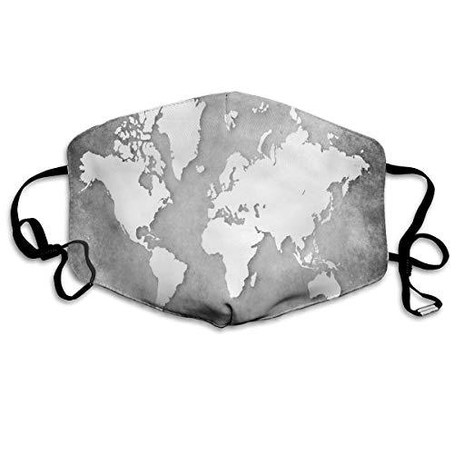 Anti Dust Mask White World Map Cotton Mouth Mask Winter Healthy Reusable For Girls Halloween -