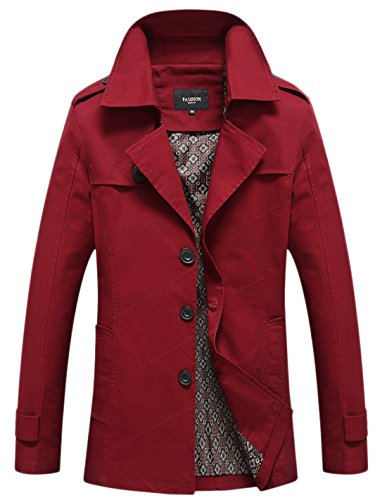 Chouyatou Men's Classic Collared Single Breasted Lightweight Cotton Jacket Dark Red