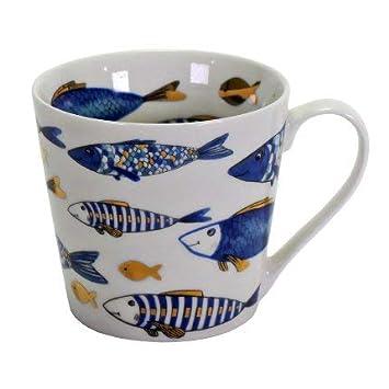 2x Becher Kaffeebecher Blue Fish Fisch Blau Gold 400ml Geschirr Porzellan Kommunion Konfirmation Taufe