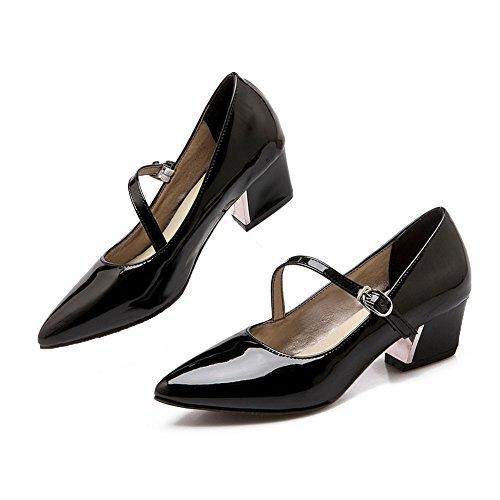 Balamasa Dames Antislip Gesp Punt Teen Lakleder Pumps-schoenen Zwart