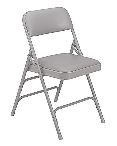 (National Public Seat Vinyl Upholstered Premium Folding Chair Triple Brace Double Hinge Grey - 4 Pack electronic consumers)