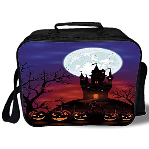 Halloween Decorations 3D Print Insulated Lunch Bag,Gothic Haunted House Castle Hill Valley Night Sky October Festival Theme,for Work/School/Picnic,Multi