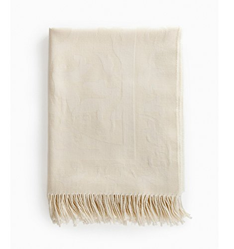 SFERRA Amaro Ivory Throw Blanket Wool Silk Blend Jacquard Damask Fringed