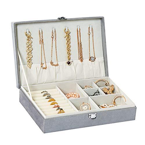 YOUDENOVA Jewelry Box Organizer for Women, Necklace Organizer Box, Ring Storage with Diamond Jewelry Display Case for Bracelets - Gray