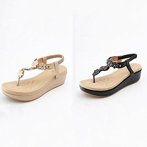 Sandals XIAOLIN Women's Summer Flower Round Toe Beach Flat Elastic T-Strap Post Thong Shoes Heel Height 5 Cm(Optional Size) (Color : 01, Size : EU39/UK6.0/CN39) 01