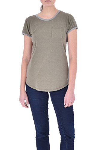 Poof Women's Solid Ringer Tee W Contrast Neck and Sleeves, Burnt Olive/Grey Heather, (Ladies Heather Ringer)