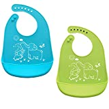 Waterproof Silicone Baby Bids Comfortable Ultra-soft Feeding Bids for Boys&Girls! Easily Wipes Clean Keep Stains Off! Set of 2 Colors (Small&Regular, Blue+Green)