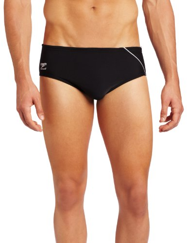 Speedo Men's Endurance+ Mercury Splice Brief Swimsuit, Black/Purple, 28