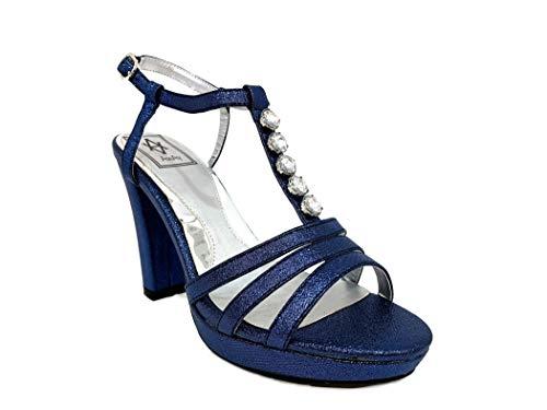 Alto Con Sandal Blu Cristalli Donna Sandali Tacco Vegan Heel T Particolare Woman Cerimonia Elegant High Particular Sandalo Leather Shoes Black Crystals Diamonds Plateau Elegante Scarpe xPYTv