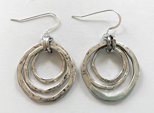 Handmade Moonlight Goddess Earrings, OF EARTH AND OCEAN - Triple Circles in Silver Tone