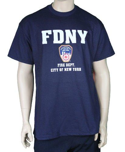 FDNY Short Sleeve White Fire Dept Logo and Shield T-Shirt Navy Medium