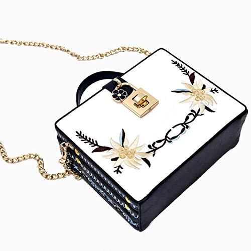 8 chaîne Femmes 20 Unique Paquet 16 côté à Sac Simple Sxuefang A Broderie Main Cuir Oblique Petit Mode épaule Sac cm qg4xTIw