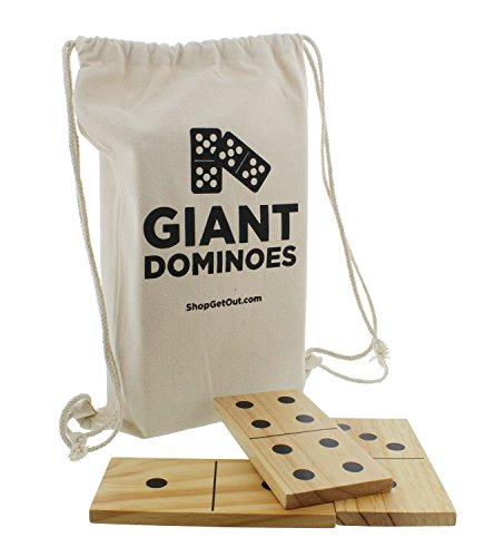 Get Out! Giant Wooden Dominoes 28-Piece Set with Bag - Jumbo Natural Wood & Black Numbers - Kids Adults Outdoor Games