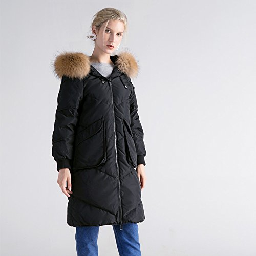 Coat DYF Black Long Down Color Jacket M Zipper Thicken Pocket Solid Loose sleeve EE4qnrP