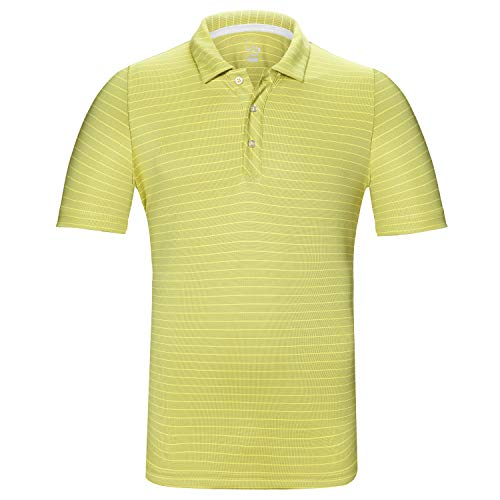 EAGEGOF Regular Fit Men's Shirt Stretch Tech Performance Golf Polo Shirt Short Sleeve S Yellow Horizontal Stripes