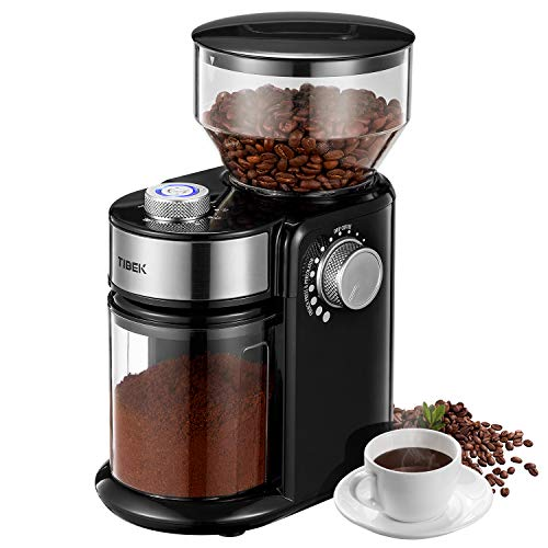 Burr Coffee Grinder, with Large Hopper Electric Burr Mill with 18 Grinding Options for 2-14 Cups, Automatic Burr Grinder for Drip, Percolator, French Press, American, Italian Coffee Makers, TIBEK