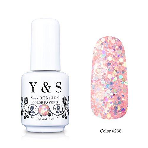 Yaoshun Gelpolish, Soak-off (Gel Nail Polish) UV LED Nail Art/Beauty Care Sequins Glitter Pink Color 8ml -#238 from Yao Shun