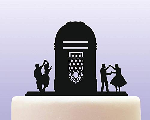 Acrylic Retro Fifties Jukebox Player Cake Topper for Anniversary Party Decorations Birthdays, Weddings, Themed Parties Cake Decoration In Your Choice of Color -