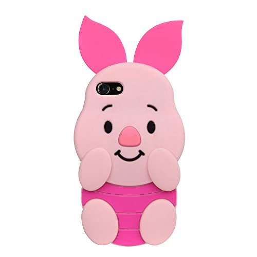 Soft Silicone Movable Ears 3D Cartoon Back Case for Apple iPhone 7 8 iPhone7 iPhone8 Regular Size Pinky Piglet Cute Cutie Lovely Special Girly Kids Girls Teens Women Gift Protective (Pink Pig)