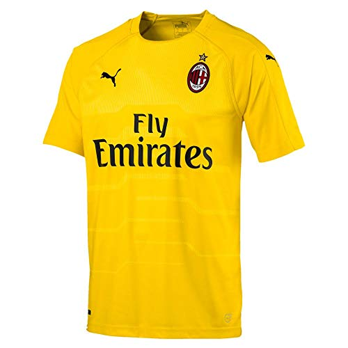 PUMA 2018-2019 AC Milan Home SS Goalkeeper Football Soccer T-Shirt Jersey (Yellow)