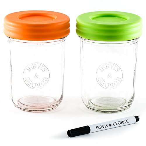 Glass Baby Food Storage Containers - Set contains 2 Small Reusable 8oz Jars with Airtight Lids - Safely Freeze your Homemade Baby Food (Liquid Jars)