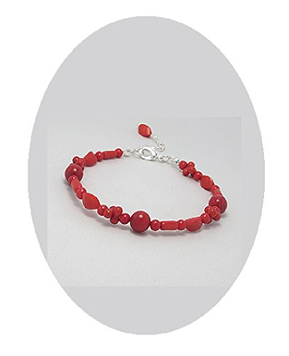 Red Coral Beaded Bracelet Semi-precious Silver 8-9