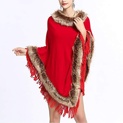 Donna Da Con Di Collo Red A In Scialle Pelliccia Liulife Cappotto Volpe ARwx1